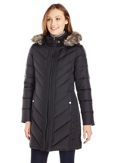 Larry Levine Women's Long Sleeve Down Coat with Side Tabs and Hoodedium
