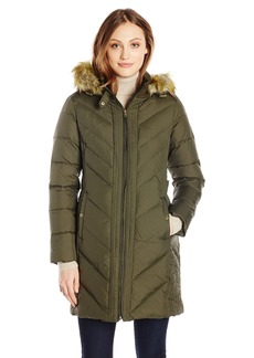 Larry Levine Women's Long Sleeve Down Coat with Side Tabs and Hoodilitary Greenedium