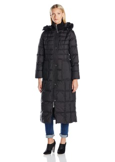 LARRY LEVINE Women's Maxi Down Coat With FF Trim Hood  XS