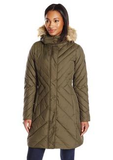 LARRY LEVINE Women's Mid Length Chevron Down Coat with Faux Fur Trim Hood