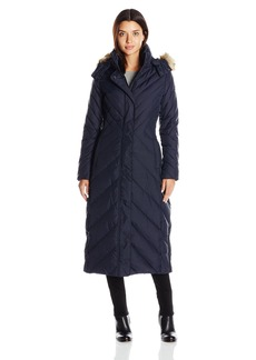 Larry Levine Women's Multi Chevron Maxi Full Length Coat With Faux Fur Hood  XS