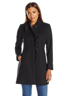 Larry Levine Women's Petite Ruffel Wool Coat  10P