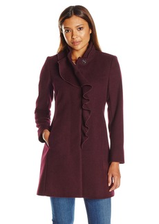 Larry Levine Women's Petite Ruffel Wool Coat  8P