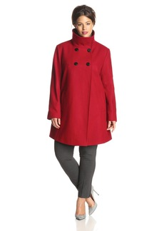 LARRY LEVINE Women's Plus-Size Double-Breasted Plush Coat