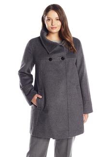 LARRY LEVINE Women's Plus-Size Double-Breasted Plush Coat