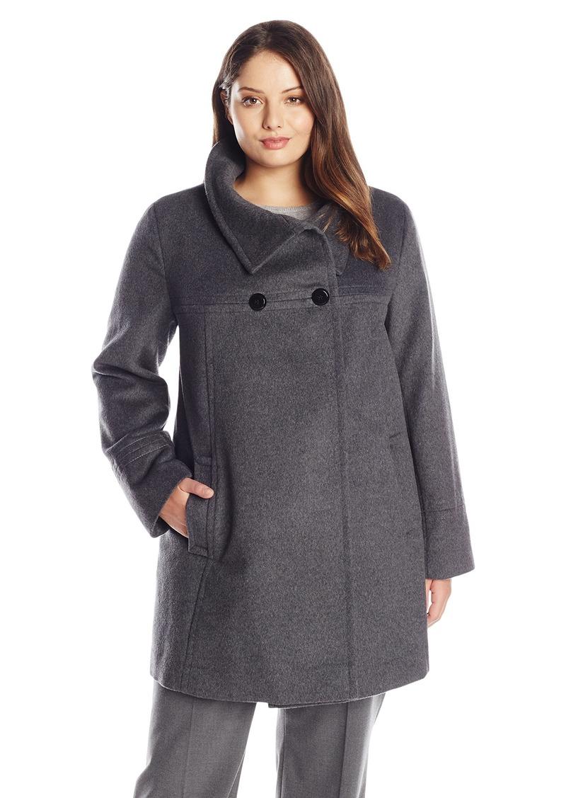 LARRY LEVINE Women's Plus-Size Double-Breasted Wool-Blend Coat