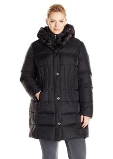 Larry Levine Women's Plus-Size Down Coat with Faur Fur Trim