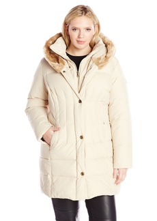Larry Levine Women's Plus-Size Down Coat with Faur Fur Trim