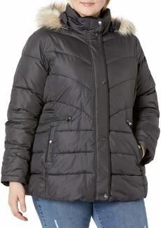 Larry Levine Women's Plus-Size Down Jacket with Removable Faux Fur Trim Hood Steel