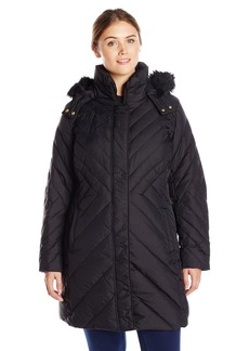 Larry Levine Women's Plus-Size Mid Length Chevron Down Coat with Faux Fur Trim Hood