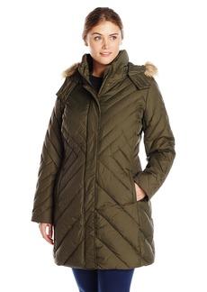 Larry Levine Women's Plus-Size Mid Length Chevron Down Coat with Faux Fur Trim Hood