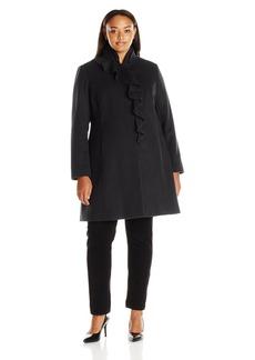 Larry Levine Women's Plus Size Ruffel Wool Coat