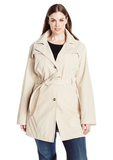 Larry Levine Women's Plus-Size Single Breasted Trench Coat
