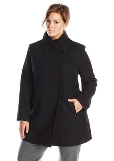 Larry Levine Women's Plus-Size Wool Herringbone Coat