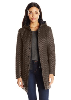 Larry Levine Women's Quilted Jacket with Hood  Large