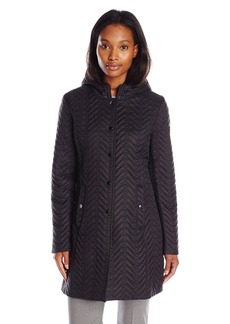 LARRY LEVINE Women's Quilted Jacket Hood