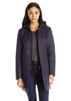 Larry Levine Women's Quilted Jacket with Hood  Medium