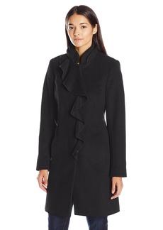 Larry Levine Women's Ruffel Wool Coat