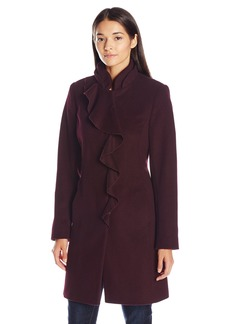 Larry Levine Women's Ruffel Wool Coat