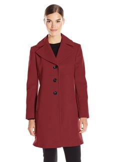 LARRY LEVINE Women's Single Breasted Notch Collar Wool Coat FireBrick