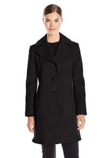 Larry Levine Women's Single Breasted Notch Collar Wool Coat