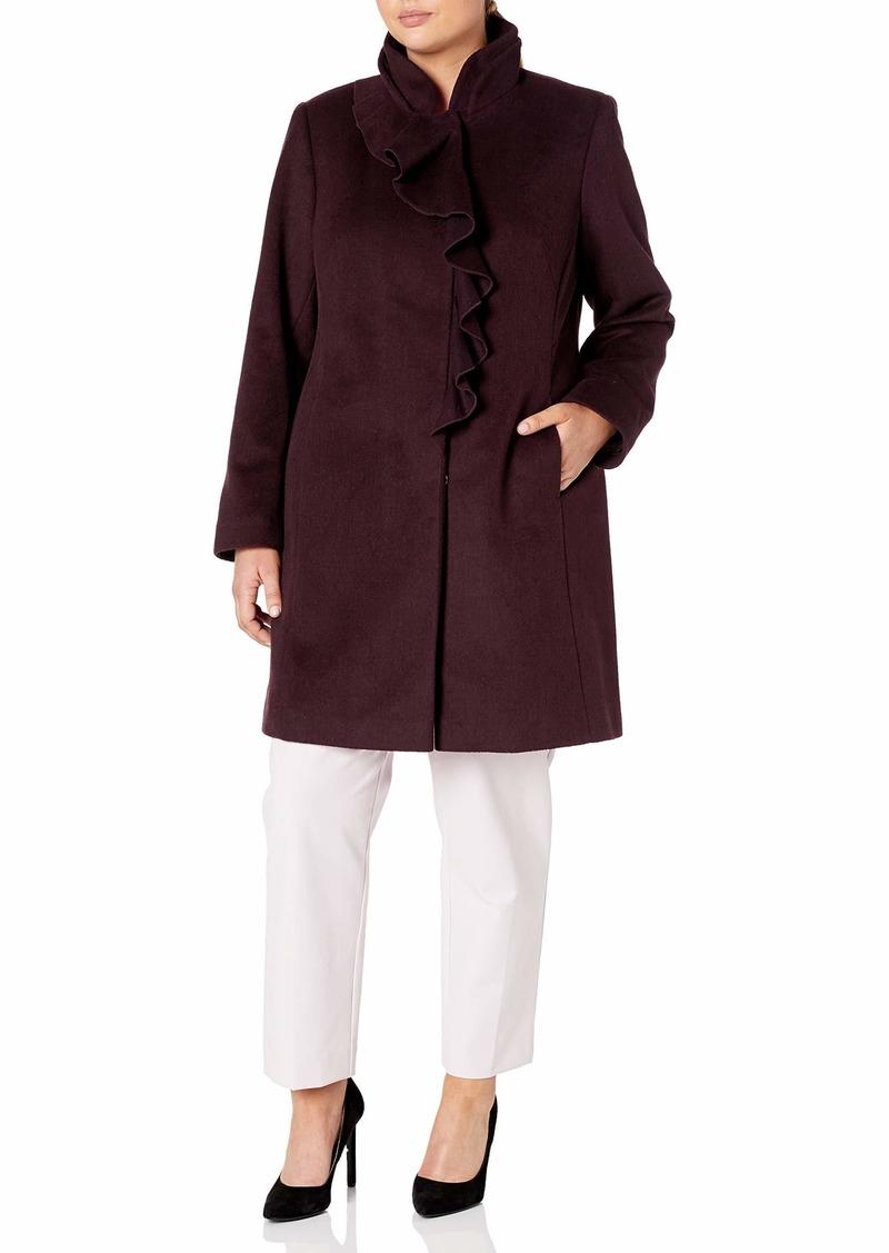 LARRY LEVINE Women's Size Ruffel Wool Coat Plus