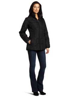 Larry Levine Women's Slimming Down Filled Jacket with Hidden Hood