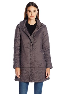 Larry Levine Women's Soft Quilt Stand Collar with Paisley Detail Coat  M