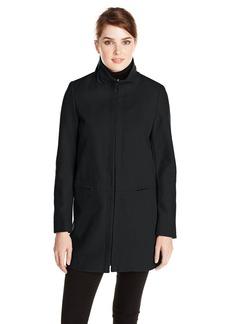 Larry Levine Women's Stand Collar Zip Front Wool Coat