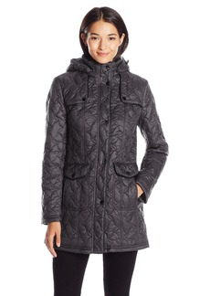 LARRY LEVINE Women's Swirl Quilt Coat with Detachable Hood and Pockets  L