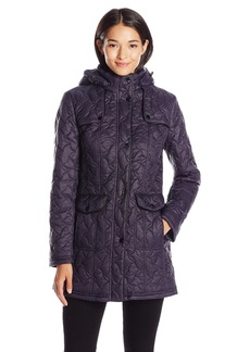 LARRY LEVINE Women's Swirl Quilt Coat with Detachable Hood and Pockets  M