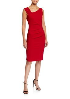 Laundry by Shelli Segal Asymmetric Stretch Double Weave Dress