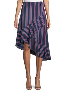 Laundry by Shelli Segal Asymmetric Striped Wrap Skirt