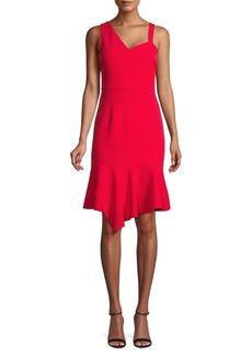 Laundry by Shelli Segal Asymmetrical Flounce-Hem Sheath Dress