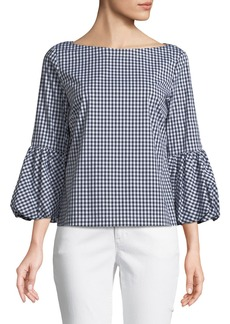 Balloon-Cuff Gingham Blouse
