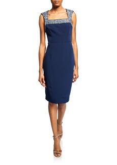 Laundry by Shelli Segal Beaded Yoked Bodycon Dress