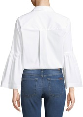 Laundry by Shelli Segal Bell-Sleeve Drawstring Hem Button-Front Blouse
