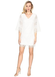 Laundry by Shelli Segal Bell Sleeve Dress w/ V-Back and Scallop Hem