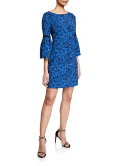 Laundry by Shelli Segal Bell-Sleeve Floral Jacquard Sheath Dress