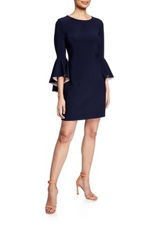 Laundry by Shelli Segal Bell-Sleeve Reversible Sheath Dress