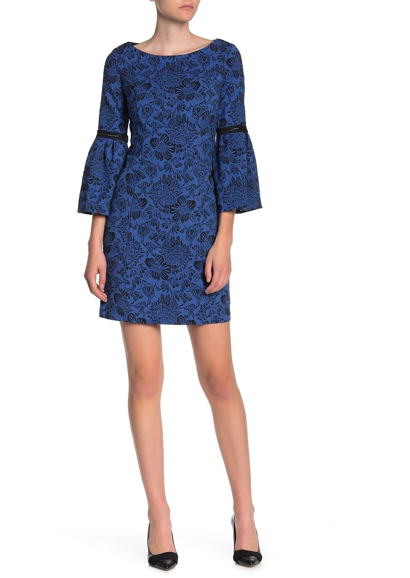 Laundry by Shelli Segal Bell Sleeve Stretch Jacquard Knit Mini Dress