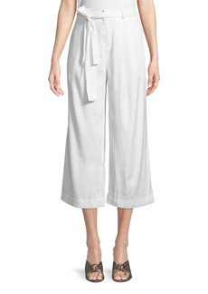 Laundry by Shelli Segal Belted Linen Cropped Pants