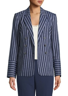 Belted Linen Double-Breasted Blazer