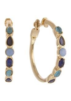 Laundry by Shelli Segal Blue Stone Clip Hoop Earrings