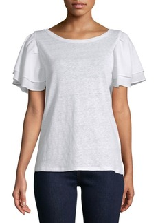 Laundry by Shelli Segal Boatneck Linen Blouse