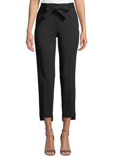 Laundry by Shelli Segal Bow-Belted Step-Hem Ponte Pants