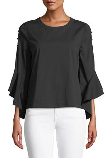 Laundry by Shelli Segal Buttoned-Seam Bell-Sleeve Poplin Blouse