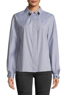 Laundry by Shelli Segal Candy-Striped Jewel Collar Button-Front Blouse