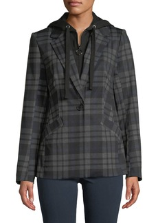 Laundry by Shelli Segal Check Pattern Jacket with Removable Hoodie
