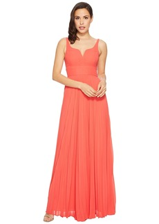 Laundry by Shelli Segal Chiffon Gown with Sunburst Pleated Skirt
